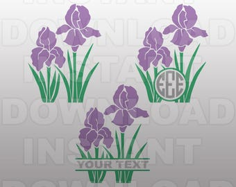 Iris Flower SVG File,Floral SVG,Gardening SVG File -Personal & Commercial Use- cricut svg,silhouette svg,svg cuts,vector svg,vinyl files