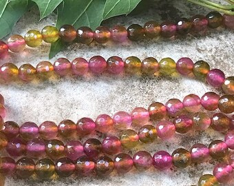 6x6mm Watermelon Tourmaline Jade Facet Round Spheres- Bastet's Beads- 20