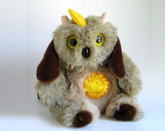 Vintage Monster LA OOF Stuffed Animal Plush Horns Tusks Big Yellow Owl Eyes Beaver Tail Sunshine Ridgeback 1980s Toys 1986 Therapy Toy