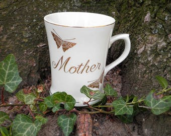Vintage Tribute to Mom Coffee Cup / Mug - Made in Japan - 80s Era Collectible Mother's Day Gift For Her - Golden Butterfly Mother Tea Cup