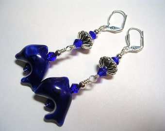 Dolphin Earrings Cobalt Blue Lampwork and Crystal Leverback Hooks Silver Swimming with Fishes Dangle Wire Wrapped Earrings