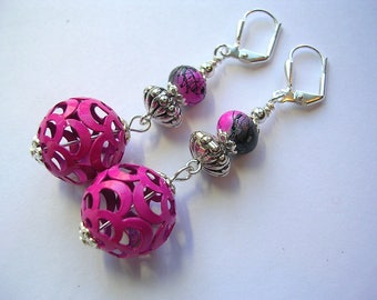 Pink Earrings Hot Pink Metal Silver Leverback Hooks Swingy Pink Dangle Earrings Wire Wrapped Gift Boxed