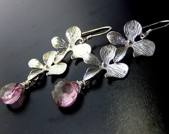 Pink Orchid Earrings, Mystic Quartz Drops, Long Earrings, Flower Teardrop Earrings