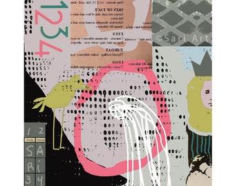 Fine Art Print / digital Abstract Giclee painting / wall decor / digital collage print / Yellow Bird / Princess/ #1466
