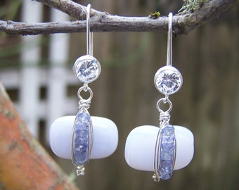 Natural perwinkle holly blue Chalcedony nugget , tiny tanzanite rondelle, Swarovski crystal earwire, earrings
