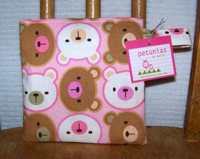 Reusable Little Snack Bag - pouch adults kids pink bears eco friendly by PETUNIAS