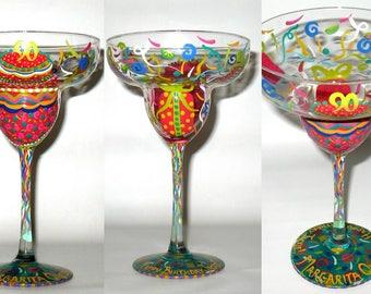 Personalized Handpainted MARGARITA QUEEN Birthday Glass 100% Dishwasher Safe Finish! Artist Original