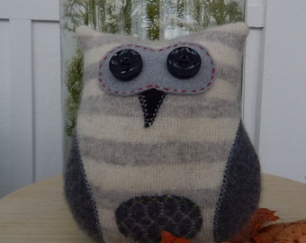 Recycled Cashmere Owl Tooth Fairy Pillow - Gray Stripes