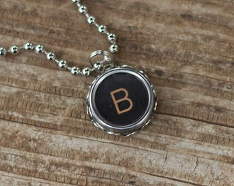 Initial B Necklace, Vintage Typewriter Key, Personalized Letter Pendant