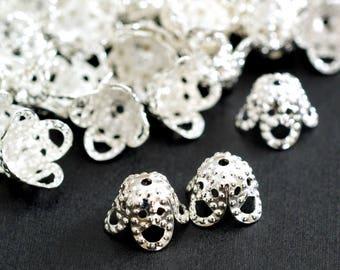 Top Quality 50pcs Silver Filigree small Bell Bead Caps EC1169-S