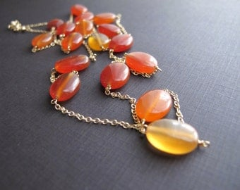 Ember...Natural Carnelian and 14K Gold Fill Necklace, Layering Necklace