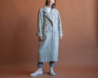 belted llama mohair wool houndstooth coat / oversized classic coat / white silver coat / s / m / 2150o / R3