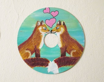 Foxs in love painting - art on recycled Vinyl record, forest animal wall art, children's room decor, woodland nursery, fox lover gift