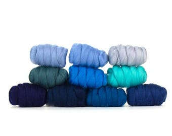 ON SALE Wooly Waves Merino Variety Pack - 10 colors - 25 grams each color = 250 grams or 8.8 oz total to Spin, Felt, Card, Fiber Art