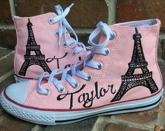 Paris Pink Handpainted Sneakers, Custom Hi Top Sneakers, Paris Party, Custom Converse