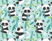 Panda Rama Bamboo Blue by Maude Asbury for Blend Fabrics - Panda-Rama - One Yard Fabric