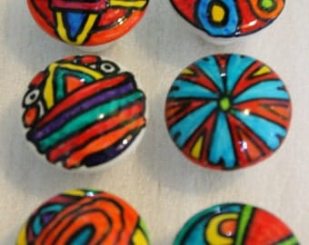 SIX CIRCUS color unque tops hand painted knobs