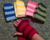 Rainbow of Colors Fingerless Gloves - Blue, Yellow, Pink, Green, Red
