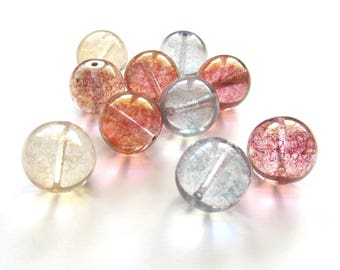Giant Round Czech Glass Beads with Mottled Luster Pastel Mix, 19mm - 5 pieces