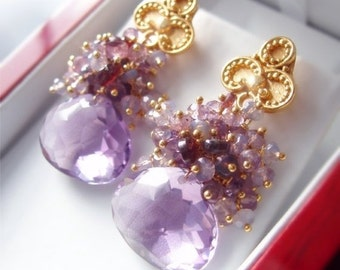 Valentines Day Sale - Custom Made to Order - Amethyst Earrings with Opal and Spinel