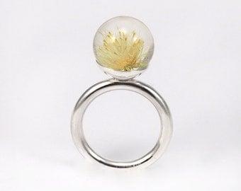 Dandelion Resin Ring, Sterling Silver Ring, Resin Jewellery