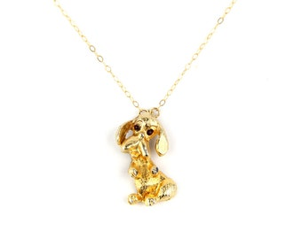 Pup. - Vintage Gold and Rhinestone Poodle Brooch Necklace