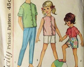 1960s Childs Sewing Pattern Simplicity 4458 Girls Shirt & Pants Pattern Size 10 Breast 28