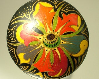 Large estate/ vintage 1970s, Russian painted flower/ tourist ware costume brooch / pin - jewelry jewellery