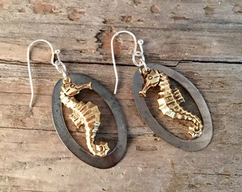 Antiqued Brass Copper Seahorse Dangle Charm Sea Summer Beach Lover Earrings Jewelry