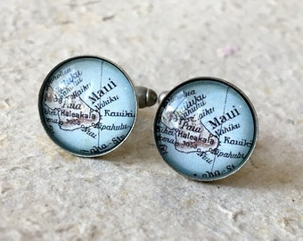 Maui Map Cufflink Cuff Link Set - Featuring Wailuku, Kihei, and more