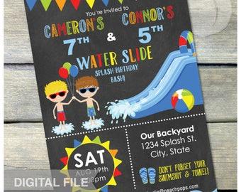 "Joint Splash Water Slide Birthday Party Waterslide Bash Chalkboard Invitation Blue - Boys Brothers Twins DIGITAL Printable Invite - 5"" x 7"""