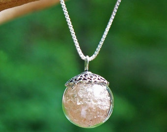 Recycled Antique Pink Depression Glass/Orb Necklace/Upcycled/Recycled/Repurposed/Eco Friendly/Upcycled Vintage/Gift for Her/Unique Necklace