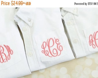ON SALE Flower Girl Button Down Shirt - Oversized Boy's Button Down Shirt - Flower Girl Shirt - Monogrammed Wedding Party Shirt for Flower G