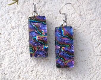 Purple Pink  Earrings, Dichroic Glass Earrings, Fused Glass Jewelry, Fused Glass Jewelry, Dangle Drop Earrings, Sterling Silver, 031917e100