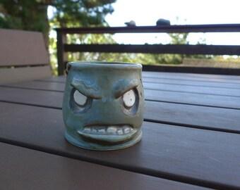 Hand thrown, ceramic,  Zombie Shot Glass