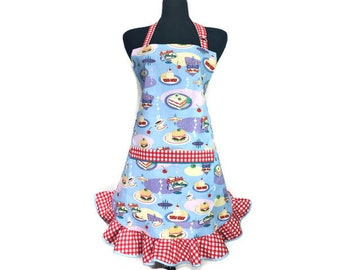 Retro Diner Apron for women , Light Blue with Red and white check ruffle , Hamburgers , Coffee Cups and Cherry Pie , Adjustable with pocket