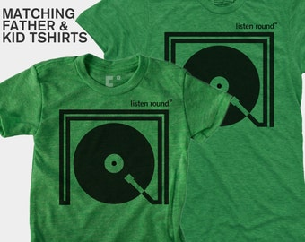 SALE! Father Son Matching Listen Round Shirts, Dad Daughter Matching, Dad Baby Matching TShirt, Music Tee, DJ Gift, New Dad Baby Shower Gift