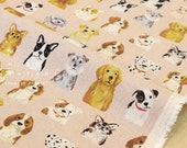 Japanese Fabric Kokka Animal World - dogs - pale pink - 50cm