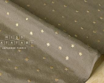Japanese Fabric silk blend metallic stars - khaki, gold - 50cm