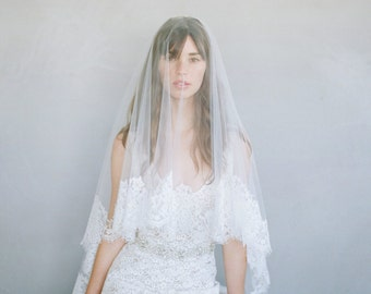Bridal veil - French lace simple veil with blusher - Style 787 - Made to Order