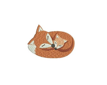 Machine Embroidery Woodland Fox & Baby Machine Embroidery File design 4 x 4 inch hoop