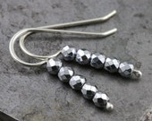 Faceted Black Stone Hematite Small Stick Earrings - Sterling Silver French Hook Earring - Small Gift for Friends, Teens, Mom - READY TO SHIP