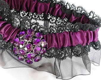 Purple & Black Lace Organza Rhinestone Garter•Wedding Garter•Goth Garter•Sized to Fit 14-18 Inches•Halloween Wedding•Dark Victorian•Cosplay