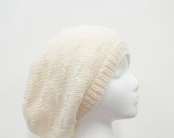 Wool hand knitted slouch hat winter white  4977