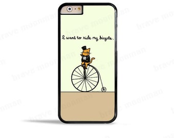 Cute iPhone 7 Case I Want to Ride My Bicycle Galaxy S7 Case Vintage Bike Cute Cat Phone Case Bike Lover Gift