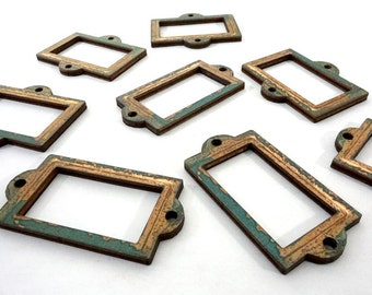 Collection of 8 Wooden Frames - Vintage Inspired and Metal Patina Craft Parts