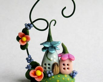 Miniature  Wee Fairy Houses with Blossom Vine by C. Rohal