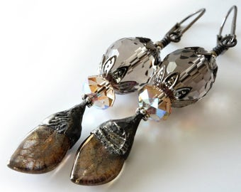 Decorative Tinwork Earrings, Smoky Quartz Gemstones, Colorado Topaz Swarovski Crystals, Glass Leaves, Beaded Jewelry, Beaded Earrings, OOAK