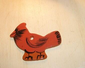 Handmade pottery clay Cardinal ornament