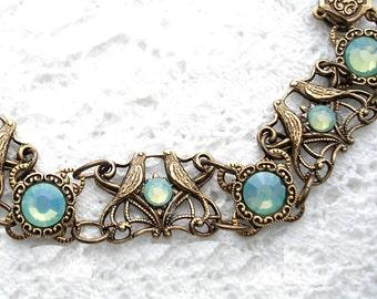Pacific Opal and Lovebirds Linked Brass Bracelet - Antiqued Brass Bracelet